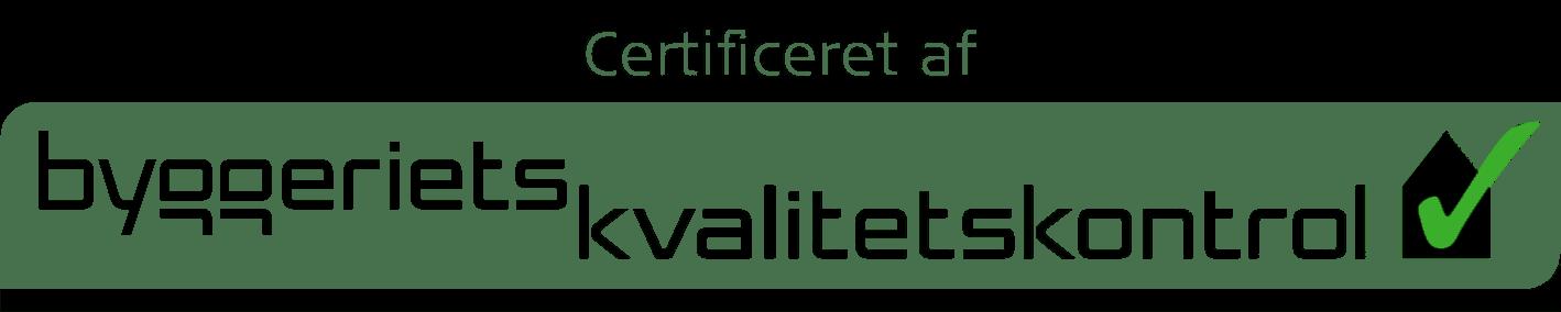 Certificeret af Byggeriets Kvalitets kontrol
